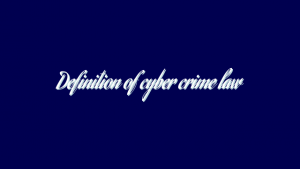 Definition of cyber crime law
